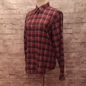 LRL Purple Olive Plaid Long Sleeve Button Up Shirt